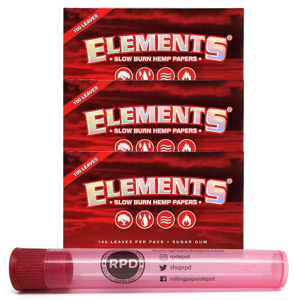 Elements Red Single Wide Slow Burn Hemp Papers (3 Packs) with Rolling Paper Depot Doob Tube - Online Bongs, Pipes Trimeck.com