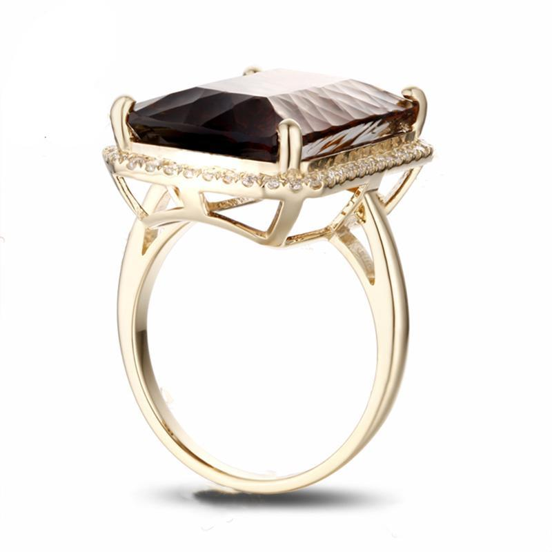 Super 14K Yellow Gold 16.62ct Smoky Topaz Ring With 0.36ct Diamond Side  QY16