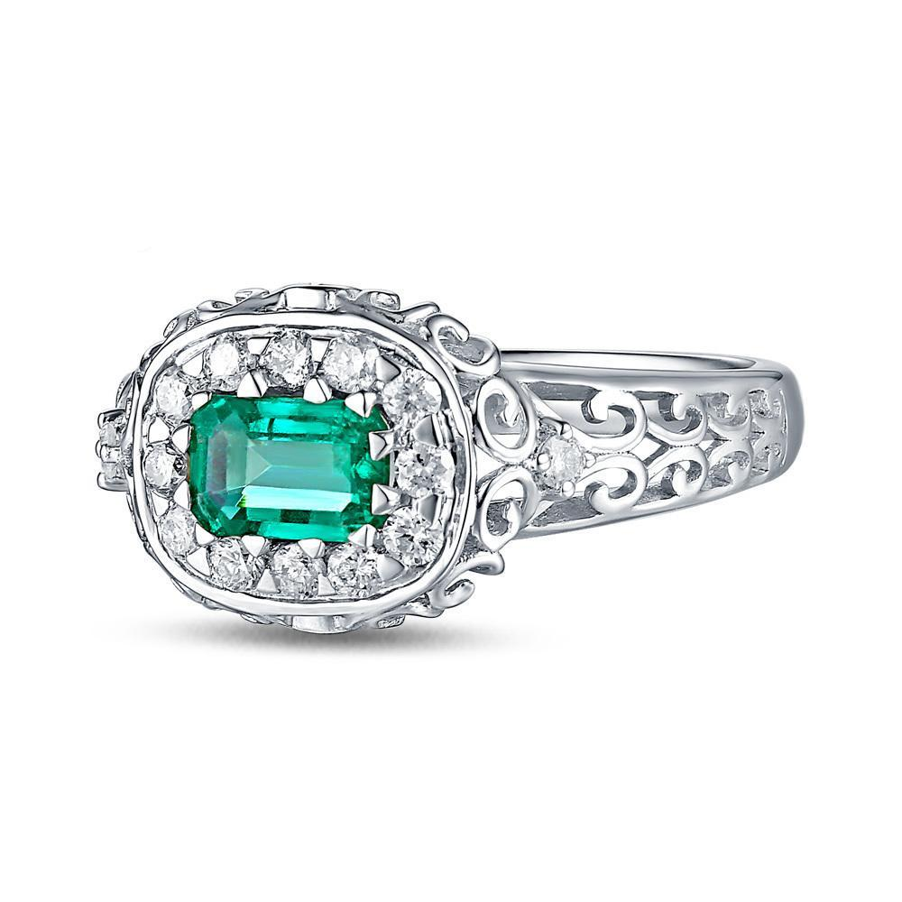 trapezoids rings and side shop with trio three ring emerald stone engagement center diamond