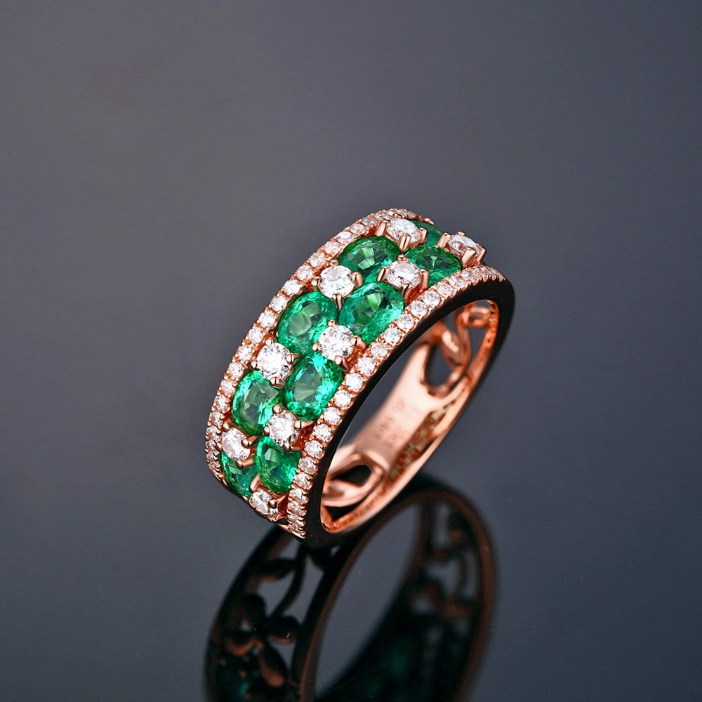in tapered stones marshall three emerald rings pierce platinum product stone engagement company diamond bag by cut carat side ring