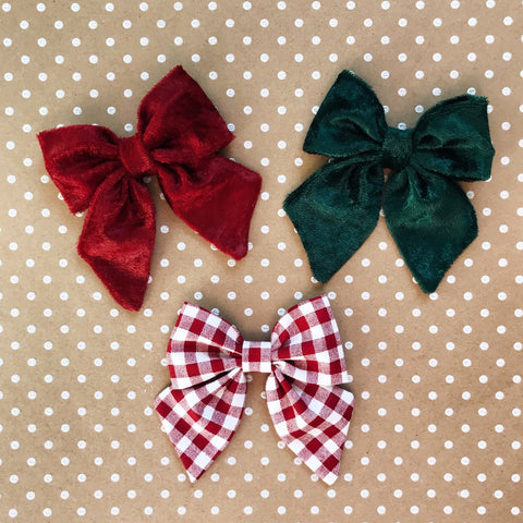 Medium Size Holiday Bow on Hair Clip-Choose Your Color