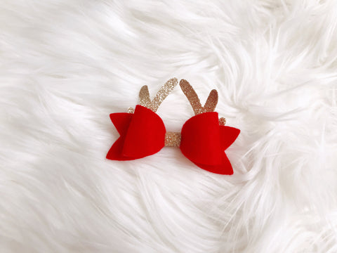 Red Glitter Reindeer Bow