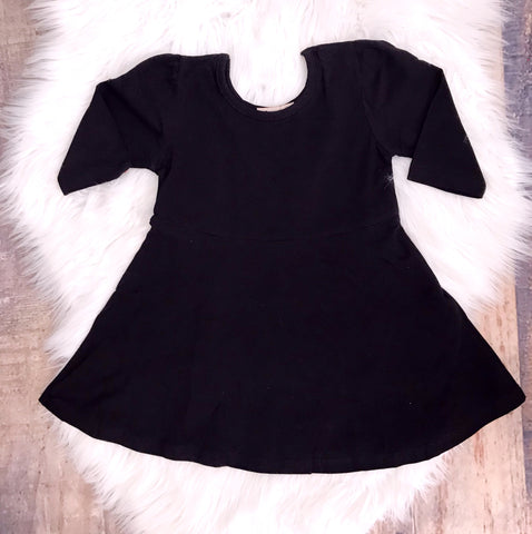 Solid Black Jersey Knit Swing Dress