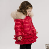 Red Ruffled Down Coat