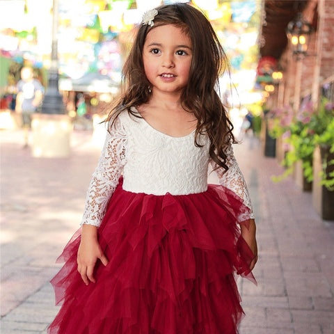 Red and White Lace Long Sleeve Tutu Dress