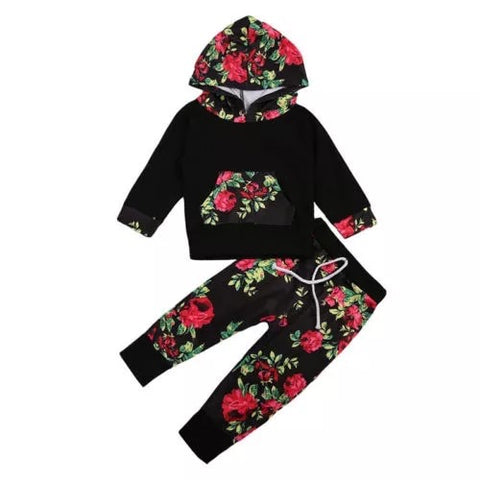 Black Floral Lounge Set