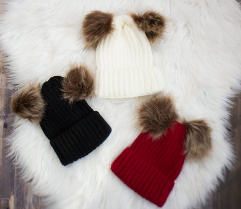 Double Pom Beanie- Choose your color
