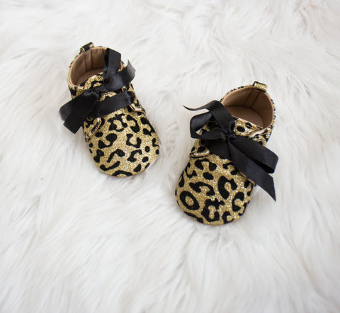 Gold Leopard Glitter Baby Shoes