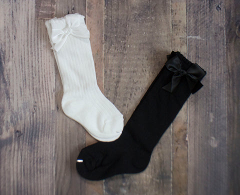 Black or White Bow Socks