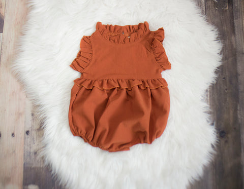 Terracotta Ruffled Romper