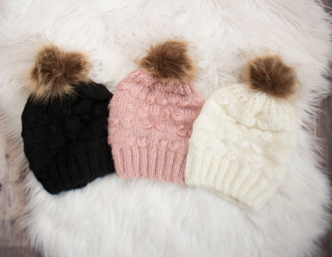 Single Pom Knit Beanie- Choose your color