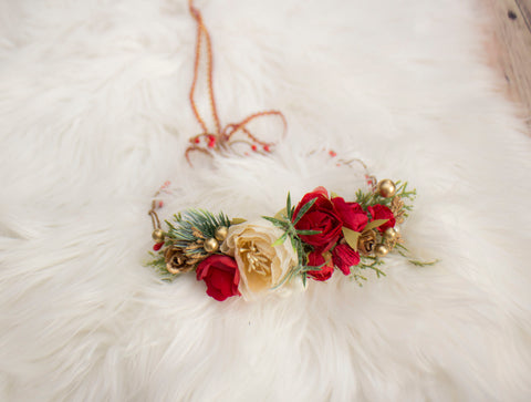 Red and White Winter Flower Crown