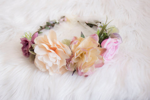 Pink and Ivory Rose Flower Crown