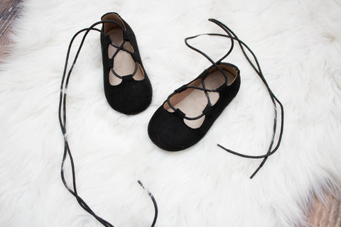 Black Ballet Lace Up Baby Shoes