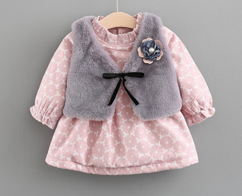 Pink and Gray Dress Set