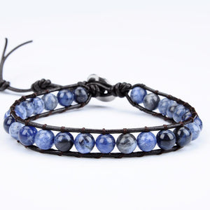 Confidence Sodalite Stone Leather Wrapped Energy Bracelet