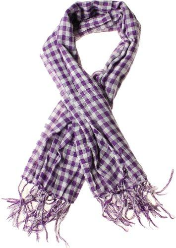 Gingham Plaid Blanket Scarf with Fringe