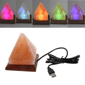 Hand Crafted Natural Himalayan Rock Salt Lamp Pyramid Shape with Wood Base