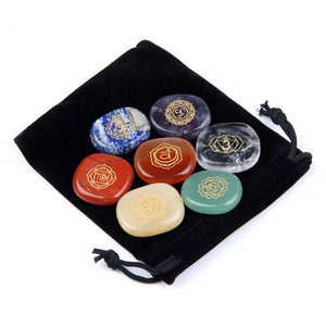 7 Piece Chakra Carved Crystal Meditation Palm Stones Set