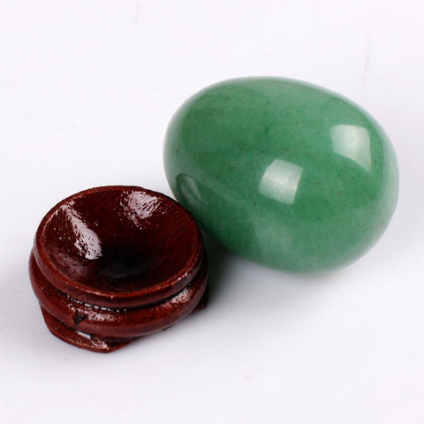 Green Aventurine Eggs With Wood Stand