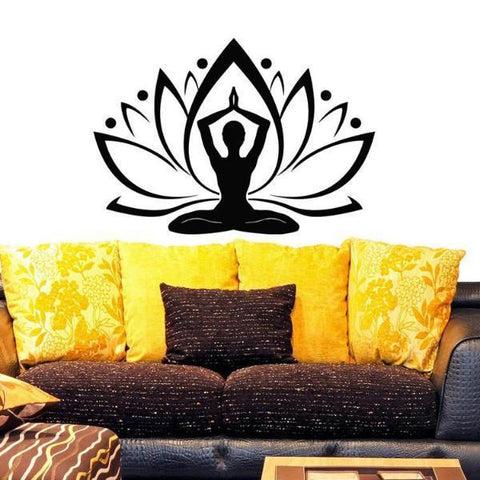 Image of Yoga Lotus Relaxation Wall Art Sticker Decal