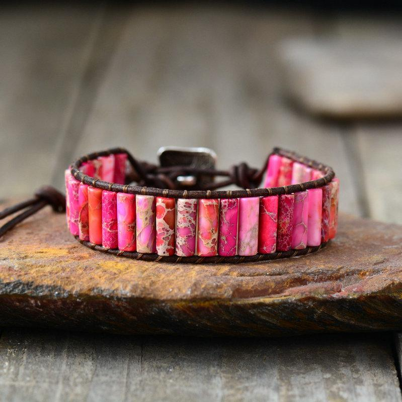 Bohemian Jasper Stone and Leather Energy Bracelet - Boho Style