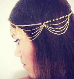 Boho Chic Gold Plated Multi Layer Hair Chain
