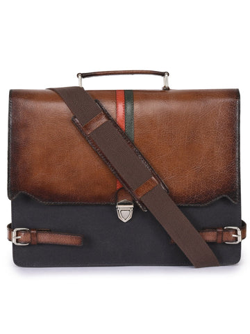 Image of Phive Rivers Men's Leather and Canvas Charcoal and Tan Laptop Bag