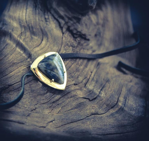 Image of LABRADORITE Fire & Ice Shield Necklace