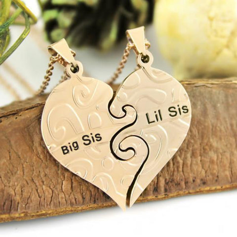 Image of Sister Necklace Big Sis & Lil Sis Sister Gold Tone Necklace, Heart Necklaces Set (2pcs)