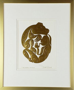 The Bear Mother - Gold Series, Framed Art Card