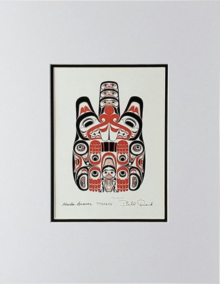 Haida Beaver 'Ttsaang' - Red and Black Series, Matted Art Card