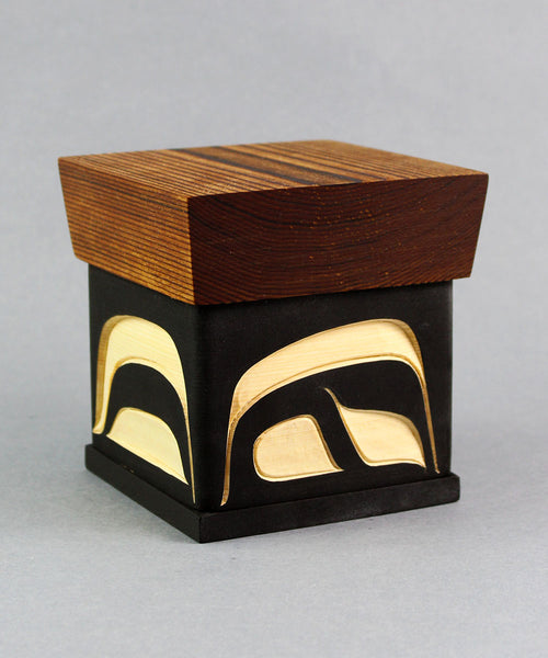 Abstract Raven - Red And Yellow Cedar Bentwood Box
