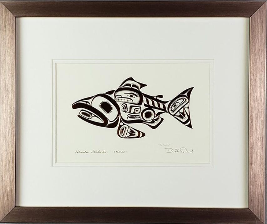 Haida Salmon 'Skaagi' - Copper Series, Framed Art Card