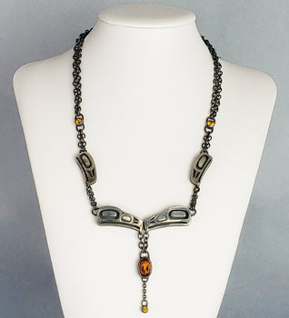 Dark Sun Raven Necklace - Morgan Asoyuf - Tsimshian
