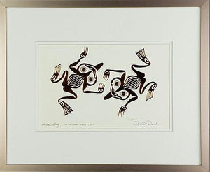 Haida Frogs 'Hlkkyaan Qqusttaan' - Copper Series, Framed Art Card
