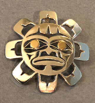 Sun - Sterling Silver and 14k Gold Pendant