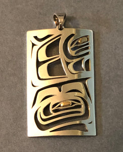 Orca Abstract - Sterling Silver and 14k Gold Pendant