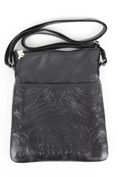 Bear Box Design, Embossed Leather Crossbody Purse - Black