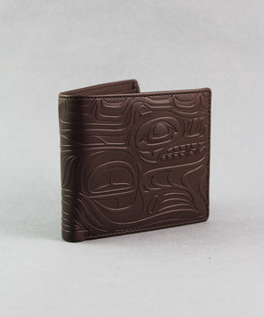 Wolf, Dark Brown Embossed Wallet