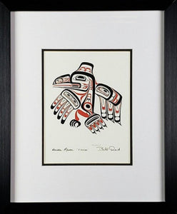 Haida Raven 'Xuuya' - Black and Red, Framed Art Card
