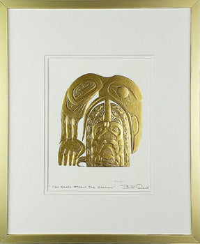 'Raven Steals Salmon' - Gold Series, Framed Art Card