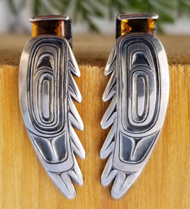 Dark Sun Raven Earrings - Morgan Asoyuf - Tsimshian