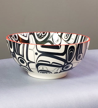 Raven Transforming - Porcelain Bowl - Kelly Robinson (Nuxalk & Nuu-chah-nulth)