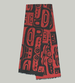 Red Brushed Silk Scarf - Corey Moraes - Tsimshian