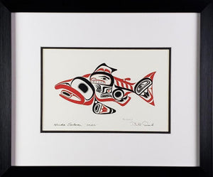 Haida Salmon 'Skaagi' - Red and Black Series, Framed Art Card