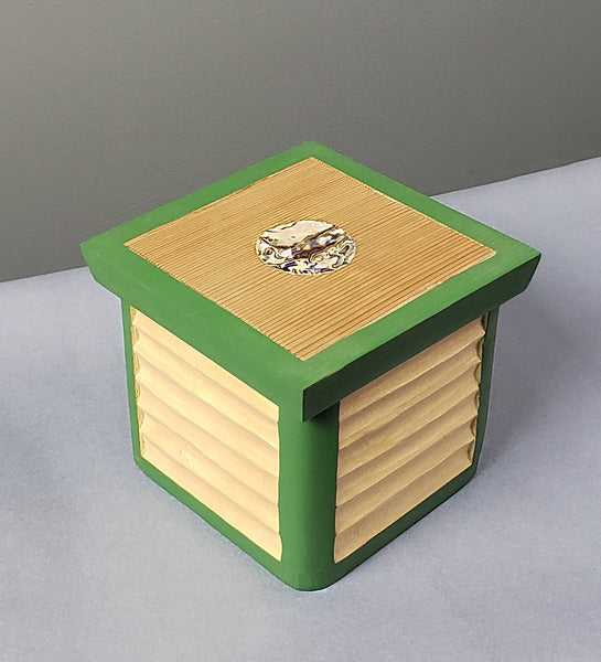 Green Bentwood box with abalone inlay