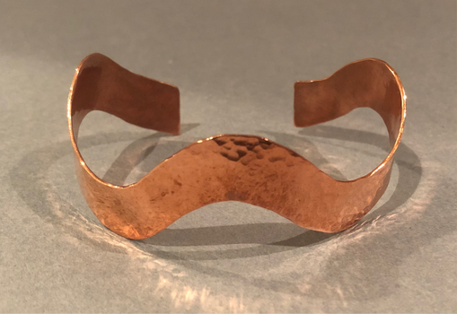 "Hand Pounded 1/2"" Copper Wave Bracelet"
