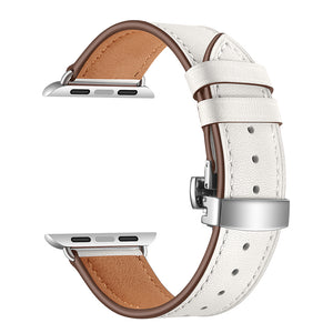 stainless steel butterfly buckle leather strap for apple watch