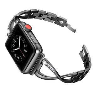 X-shaped stainless steel diamond watch band  for Apple Watch
